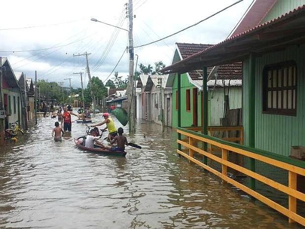Segundo Defesa Civil, cerca de duas mil pessoas sofrem com efeitos da cheia em Eirunepé (foto) (Foto: Divulgação/Defesa Civil)