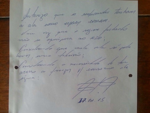 Carta teria sido assinada pelo diretor da Penitenciária (Foto: Arquivo Pessoal)