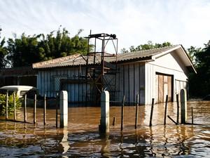 Casas na região das ilhas de Porto Alegre ficaram inundadas (Foto: Maia Rubim/PMPA)
