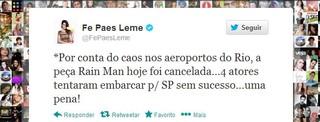 Fernanda Paes Leme fala sobre caos no aeroporto do Rio (Foto: Twitter / Reprodução)