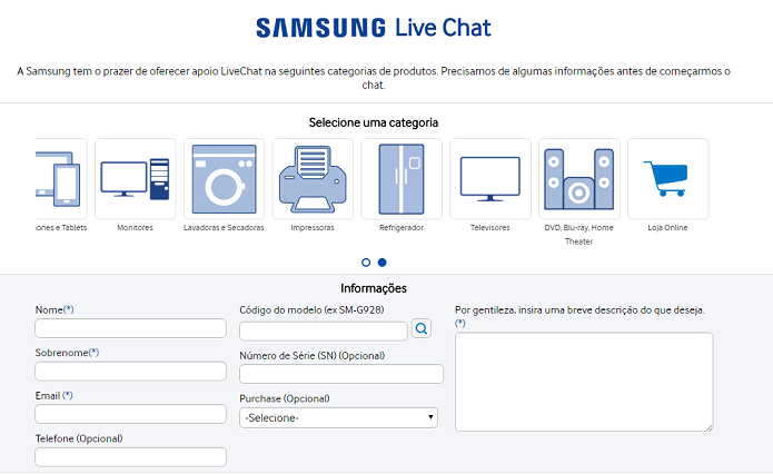 Você pode usar o chat online para contar o seu problema (Foto: Felipe Alencar/TechTudo)