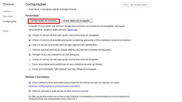 Configurações de conteúdo do Google Chrome (Foto: Reprodução/Camila Peres)