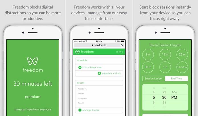 Freedom é um aplicativo para Android, iOS e computadores que bloqueia apps que distraiam o usuário (Foto: Divulgação/App Store)