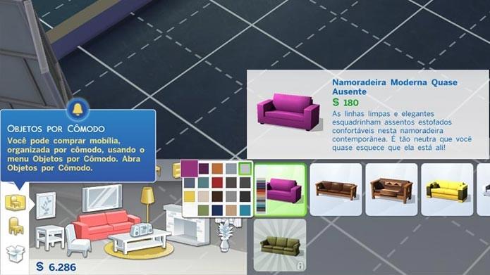 As cores dos objetos são pré-definidas (Foto: Reprodução/Tais Carvalho)