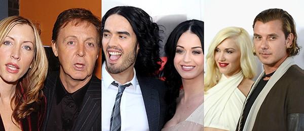 Paul Mccartney e Heather Mills, Russell Brand e Katy Perry, Gwen Stefani e Gavin Rossdale (Foto: Getty Images)