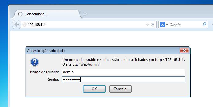 Digitando o usuário e senha para acessar o painel do roteador Wi-Fi (Foto: Reprodução/Edivaldo Brito)