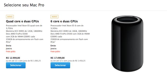 3f1ebd6976e Mac Pro 2013 já é vendido na Apple Store brasileira com preço assustador  (Foto
