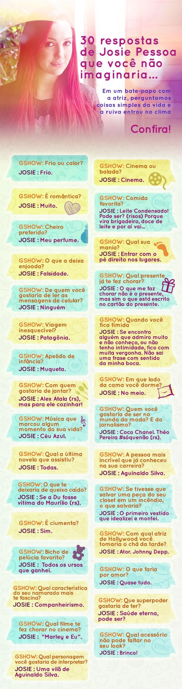 Josie Pessoa responde 30 perguntas  (Foto: Gshow)