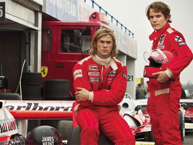 """Na estreia, """"Rush - No limite da Emoção"""" mostra o embate entre o piloto inglês James Hunt (Cris Hemsworth) e o austríaco Niki Lauda (Daniel Brühl). Foto: Divulgação."""