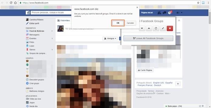 Confirmar a saída em todos os grupos do Facebook