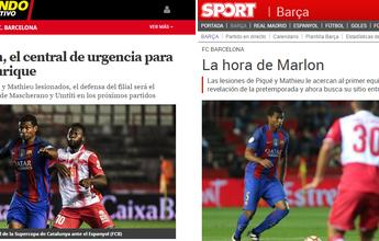 """Mathieu se lesiona, e imprensa catalã diz que é """"a hora de Marlon"""" no Barça"""