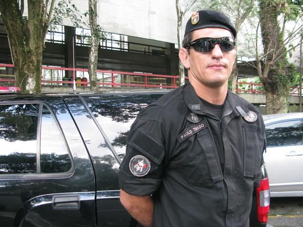 Paulo Thiago, soldado do Bope de Brasília e lutador de UFC, ensinou técnicas de artes marciais a policiais civis de São Paulo (Foto: Clara Velasco/G1)