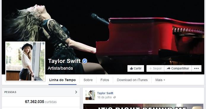 Taylor Swift é sucesso no palco e na rede social (Foto: Reprodução/Facebook)