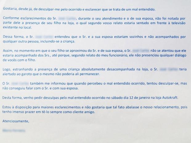 E-mail enviado pela concessionária pedindo desculpas ao casal trata o caso com o um 'mal-entendido' (Foto: Reprodução)