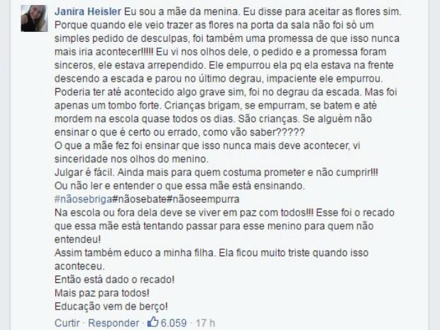 Empurrão, colega, Diogo, flores, Porto Alegre, escola, Isabelle, Janira Heisler, comentário Facebook, G1 (Foto: Reprodução/RBS TV)