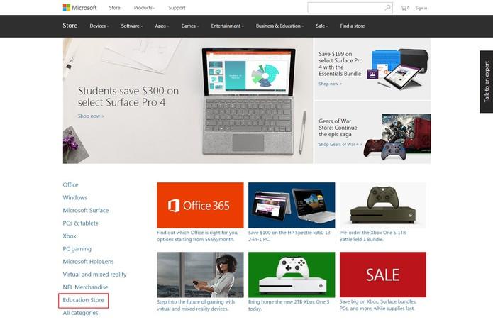 """Na loja da Microsoft dos EUA, o espaço do Lumia agora é ocupado pela """"Education Store"""" (Foto: Reprodução/Aline Batista)"""