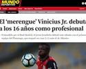 """Estreia profissional do """"merengue"""" Vinicius Junior é destaque na Espanha"""