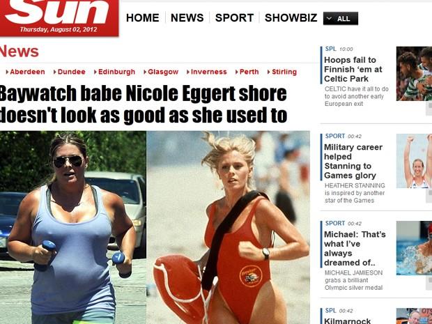 Nicole Eggert aparece em fotos do jornal 'The Sun' (Foto: Reprodução)