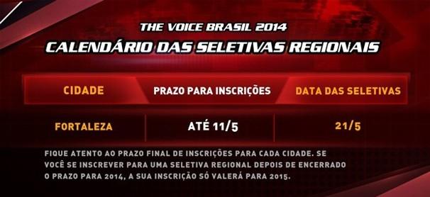 The Voice Brasil abre inscrições em Fortaleza. (Foto: Divulgação)