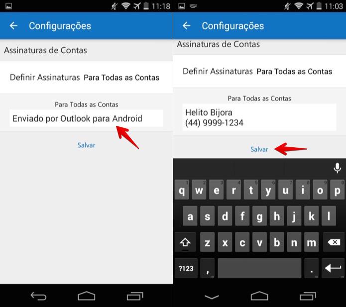 Personalizando assinatura de e-mail do Outlook no Android (Foto: Reprodução/Helito Bijora)  (Foto: Personalizando assinatura de e-mail do Outlook no Android (Foto: Reprodução/Helito Bijora) )