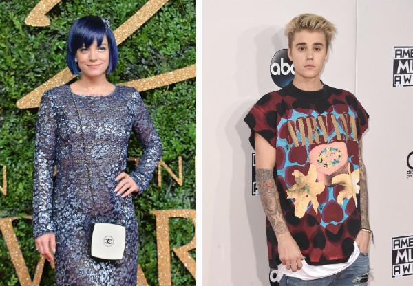 A cantora Lily Allen e o cantor Justin Bieber (Foto: Getty Images)