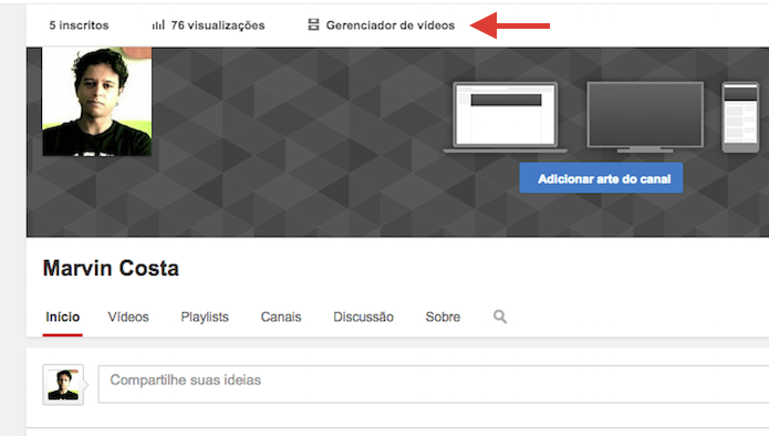 Acessar o gerenciador de vídeos em uma página do YouTube (Foto: Reprodução/Marvin Costa)