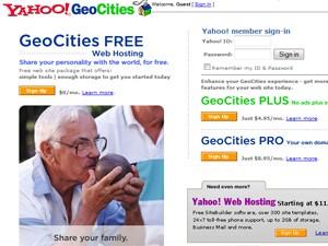 Yahoo adquiriu serviço de hospedagem de sites GeoCities em 1999 (Foto: Reprodução/Wayback Machine)