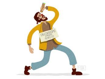 Vendedor de caleidoscópios foi um dos pedidos de ilustração. (Foto: Polito / Divulgação)