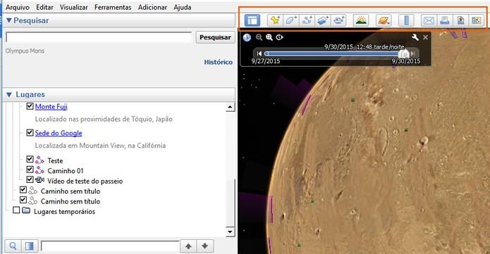 Use as ferramentas complementares do Google Earth em Marte (Foto: Reprodução/Barbara Mannara)
