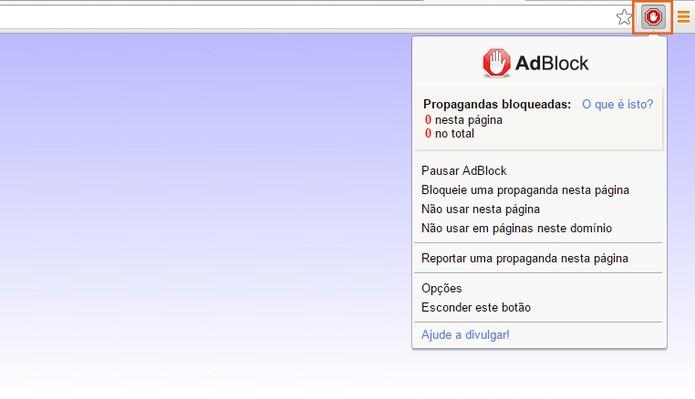 Será adicionado um ícone do AdBlock no topo direito do navegador (Foto: Reprodução/Barbara Mannara)