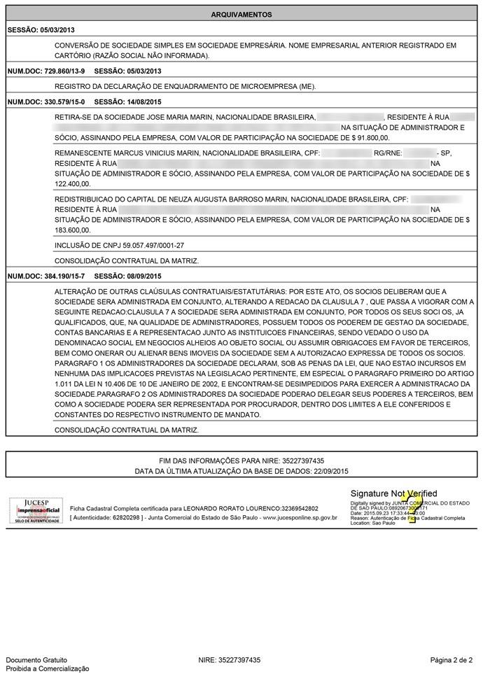 Documento Marin 2 (Foto: Reprodução)