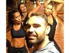 Grazi, Anna Lima e Francisca Pereira aparecem fazendo treino pesado