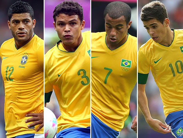 Hulk, Oscar, Thiago Silva e Lucas, Seleção Brasileira (Foto: Agência Getty Images)