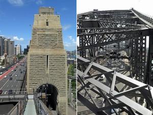 À esq., um dos pilares onde é possível subir após descer da ponte; à dir., carros passam em baixo da parte reservada à escalada (Foto: BridgeClimb/Divulgação)