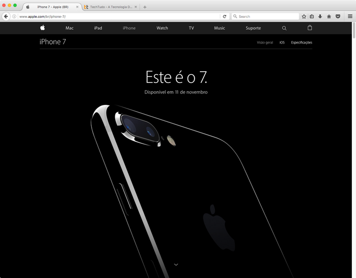 Fim do mistério: site da Apple brasileira informa a data da chegada do iPhone 7 (Foto: Reprodução/Apple)