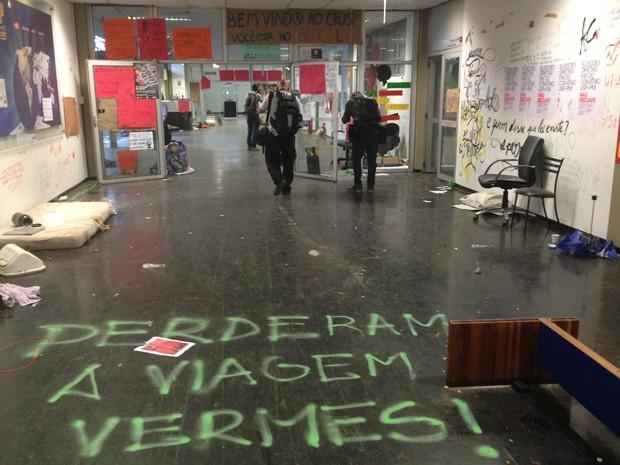 Reitoria da USP após a reintegração de posse (Foto: Letícia Macedo/G1)