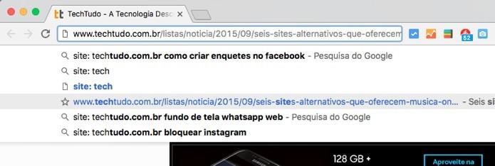 Sugestões do Google Chrome (Foto: Reprodução/André Sugai)