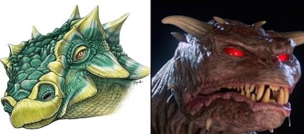 O dinossauro Zuul e o monstro Zuul de Os Caça-Fantasmas (Foto: Reprodução)