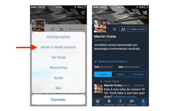 Ativando o modo noturno do Twitter para iPhone (Foto: Reprodução/Marvin Costa)