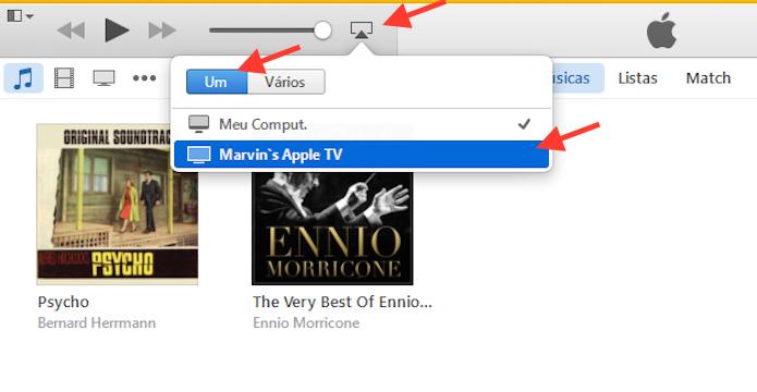 Enviando áudio do iTunes do Windows para uma Apple TV (Foto: Reprodução/Marvin Costa)