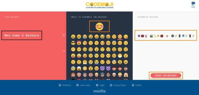 Digite sua mensagem e codifique usando um emoji (Foto: Reprodução/Barbara Mannara)