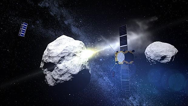 Sonda europeia observa impacto de sonda americana em asteroide (Foto: ESA)