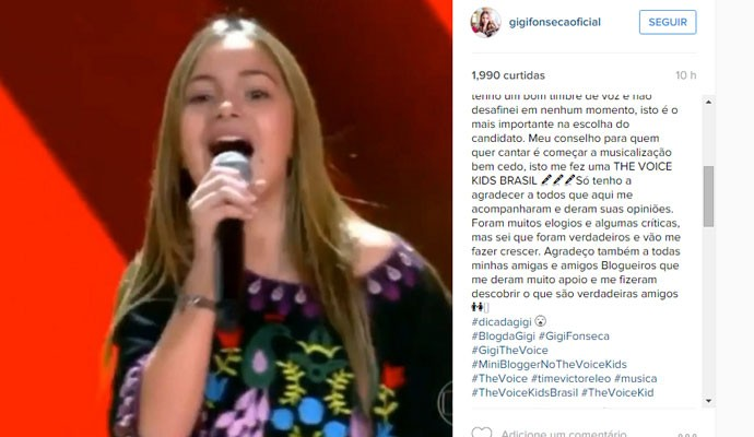 Cantora mineira agradeceu apoio de amigos e blogueiros  (Foto: Reprodução Redes Sociais )