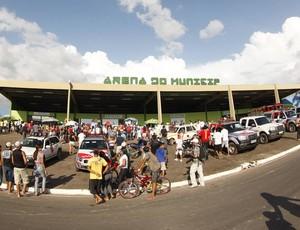 Frente do Estádio Arena Verde, localizado em Paragominas-PA (Foto: Tarso Sarraf/O Liberal)