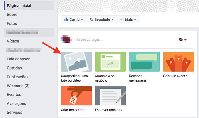 Opções para criação de post em uma página do Facebook (Foto: Reprodução/Marvin Costa)