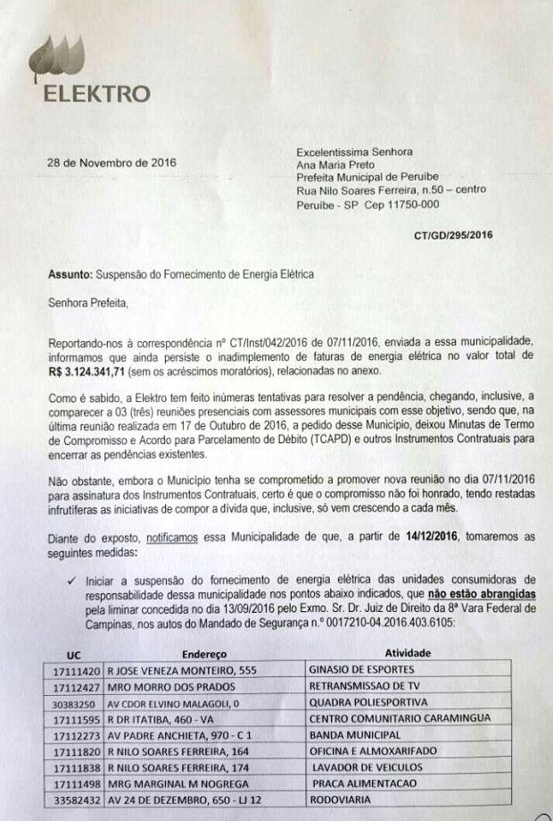 Documento enviado à prefeita sobre suspensão de fornecimento de energia (Foto: G1)