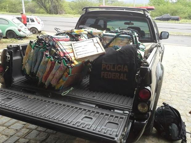 PF encontrou 102kg de maconha em cadeiras de balanço infantis no Sertão (Foto: Antônio Glautter/Polícia Federal)