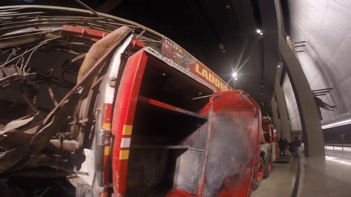 Destroços das Torres Gêmeas no Memorial do 11 de Setembro (Foto: TV Bahia)