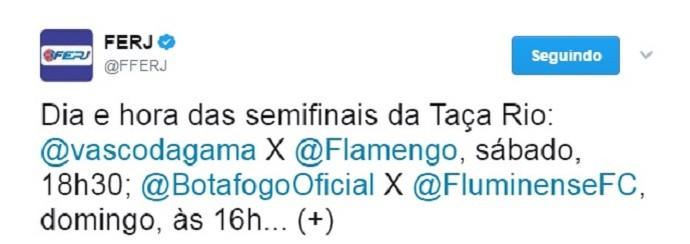Ferj confirma semifinais Taça Rio (Foto: Reprodução/Twitter)
