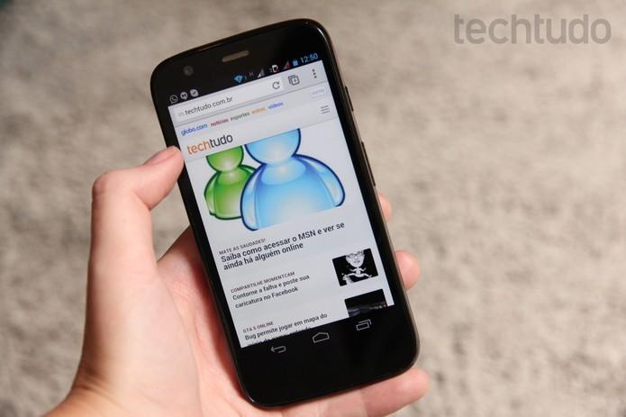 Moto G, smartphone de entrada da Motorola, já começa a receber o Android 4.4 (Foto: Luciana Maline/TechTudo) (Foto: Moto G, smartphone de entrada da Motorola, já começa a receber o Android 4.4 (Foto: Luciana Maline/TechTudo))